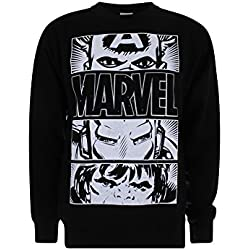 Marvel Hero Eyes Light Sudadera, Negro (Black BLK), XXL para Hombre