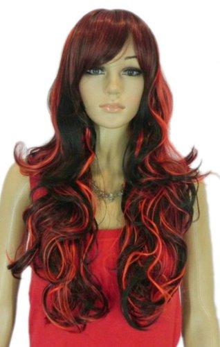 QIYUN.Z Haarteile Damen Perücken Rot Schwarz Mix Lockigen Wellenförmigen Vollhitzebeständige Faser Synthetische Langen Haaren Haarnetz Anime Cosplay Kostüm Perücke (Schwarzen Lockigen Perücke)