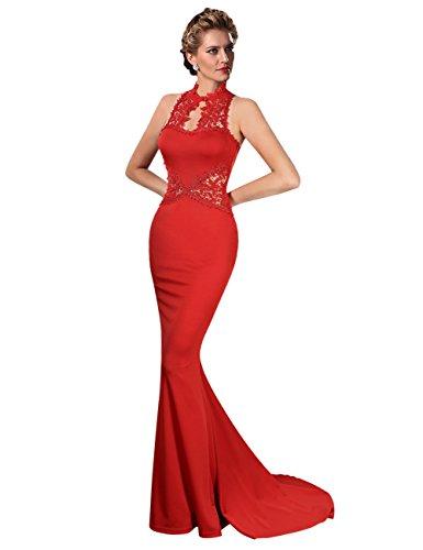 KoJooin Damen Elegant Kleider Vintage Spitze Cocktailkleid Ärmellos Fischschwanz Rock Lange Abendkleid Rot L (Kleid Meerjungfrau Elegante)