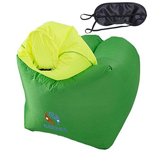 Sitzsack Outdoor, KeepSa Aufblasbar Sitzsack Sofa mit Separate große Kissen Design | Entspannend zu sitzen oder sich hinlegen | Neue Generation 2017 | Grün