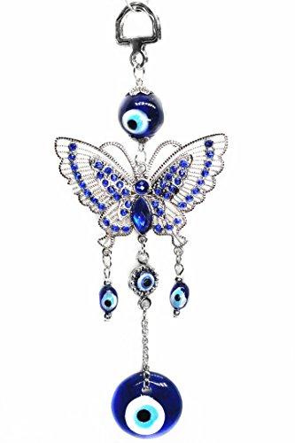 Azul mal de ojo con mariposa Charm Colgante para protección (con un Betterdecor Pounch)