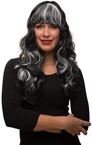 Balinco Sexy Hexe oder Vampir Langhaar Damen Perücke gewellt / lockig in schwarz / weiß (schwarzweiß) für Fasching - Karneval - Motto (Schwarze Und Weiße Perücke Kostüm)
