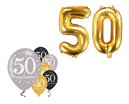 Feste Feiern Geburtstagsdeko 50. Geburtstag I 8 Teile Zahlenballon Luftballon Folie Zahl 50 Gold Schwarz Silber metallic Deko-Set Happy Birthday