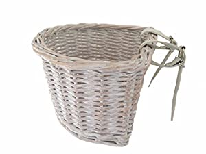 Small Wicker Childrens Bicycle Basket - Available in White Wash With White Leather Straps