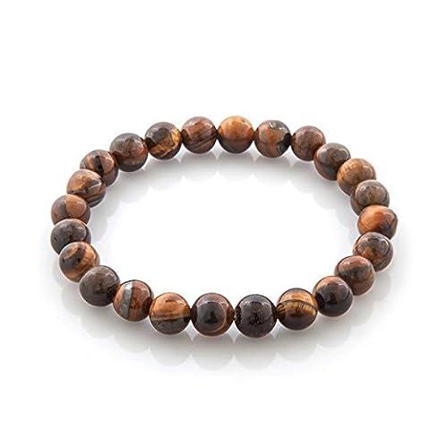 HooAMI Bracelet Prière Bouddhiste Chapelet Bracelet Perle En Oeil de tigre Unisexe Charme Bijoux Pour Homme Femme (Brun 3)