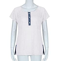 LIKELYY Women Short Sleeve Loose Casual Button Blouse T Shirt Tank Tops