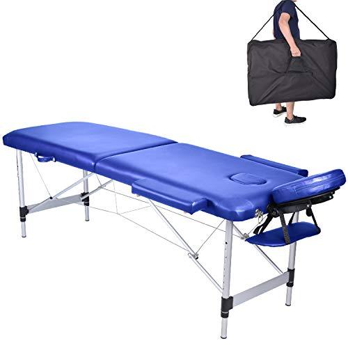 Pawstory Massageliege 2 Zonen Aluminium Klappbar Tragbar Massagetisch Faltbar Leicht Deluxe Massage Bett Höhenverstellbar Spa Reiki Tattoo mit Armlehne Kopfstütze Tasche, Blau