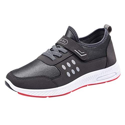 Bluestercool Herren Casual Sneakers Fashion Engrener Atmungsaktiv Sportschuhe Uni Farbe Sportschuhe Radsport Fußball Futsal Golf Wandern Running Volleyball Shoes schwarz blau grau 44 EU grau