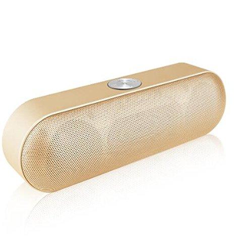 DUHOULI Tragbare Bluetooth Lautsprecher Wireless Stereo Sound Boombox Lautsprecher Mit Mikrofon Unterstützung Tf Aux Fm Radio USB 190 * 55 * 55Mm Gold