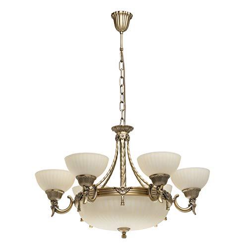 MW-Light 317010809 Kronleuchter Klassisch Antik Bronze Messingfarbig verdrehte Metallstange Glasshirm Beige 9 Flammig E27 x 60W
