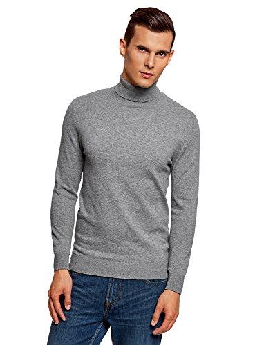 oodji Ultra Herren Rollkragenpullover Basic aus Baumwolle, Grau, DE 58-60 / XXL (Baumwoll-rollkragen-pullover)