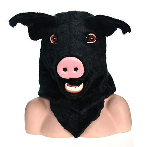 BAIJIAXIUSHANG-MASK Party Fun Maske Tierkopf-Maske Hochwertige Handgemachte Partei Bewegliche Mundmaske Geflecktes Schwein Simulation männer Kostüm Gruselige Tiermaske (Color : Black, Size : 25 * 25)