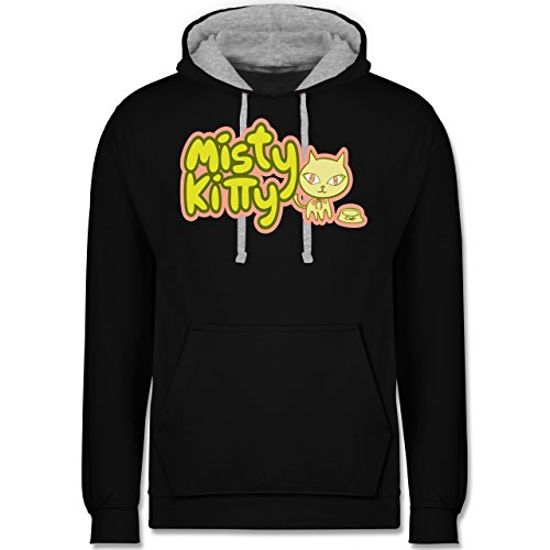Katzen - Misty Kitty - Kontrast Hoodie Schwarz/Grau Meliert