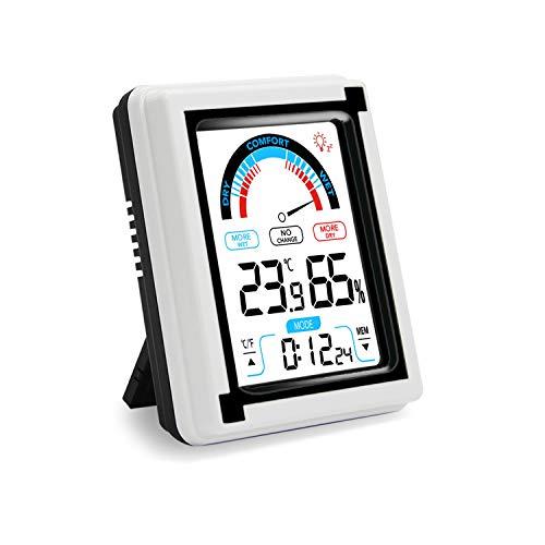 QOOTEC Termometro Igrometro Digitale, Misuratore di umidità e Temperatura Ambiente Interno con Ampio Touchscreen Retroilluminazione Allarme EU023
