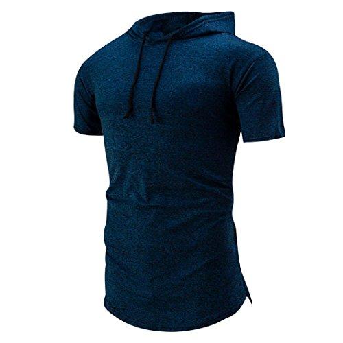 Btruely Herren Shirt Mit Kapuze Kurzarmshirt Slim Fit T-shirt Sports Top Männer Freizeit Hemd (XXL, Blau) (Hoffe, Shirt Golf)