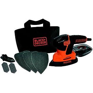 Black+Decker Dreieckschleifer Mouse KA2000 – Kraftvolle Schleifmaschine mit Staubfangbehälter inkl. Mikrofilter – Für das Abschleifen selbst an schwer zugänglichen Stellen – 1 x Schleifer 120 W