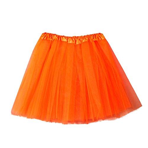 Damen Puffrock SHOBDW Damen Tütü Rock Minirock Organza Pettiskirt 3 Layers Petticoat Tanzkleid dehnbaren informell Mini Skater Rock Ballettrock mit Sternchen Perfekt für Fasching (Orange)