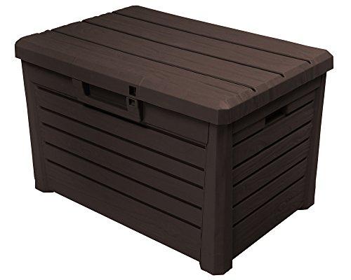 Ondis24 Kissenbox Florida Holz Optik Sitztruhe Auflagenbox Poolbox Braun 120 Liter XL mit...