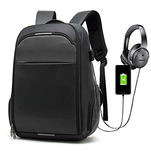 Anti-Diebstahl Laptop Rucksack mit USB Ladeanschluss, UBaymax Wasserdicht 15,6 Zoll Multifunktion Schulrucksack Daypack, Canvas Business Notebook Reise Rucksack für Herren Damen (15,6 Schwarz)