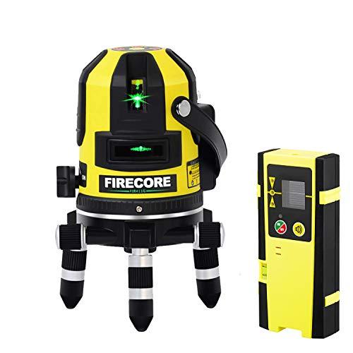 Firecore Professional Linien und Plumb Punkt Laser FIR411G mit Laser-Empfänger FD20 und Transportkoffer(Akku Ladegerät,Arbeitsbereich mit Empfänger: 50 m )Grün -