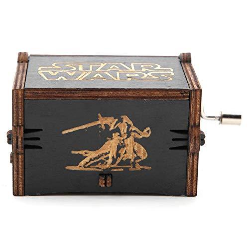 Akozon Music Box 1 Stück Holz Handkurbel Spieluhr Mechanische Klassische Craft Geburtstagsgeschenk Schwarz(Star Wars) (Tee Star Wars)