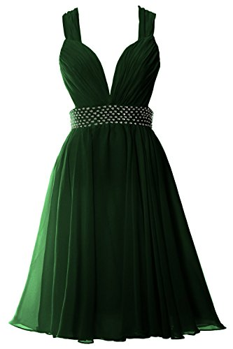 MACloth Women Straps V Neck Chiffon Short Prom Party Dress Sexy Formal Gown Dark Green