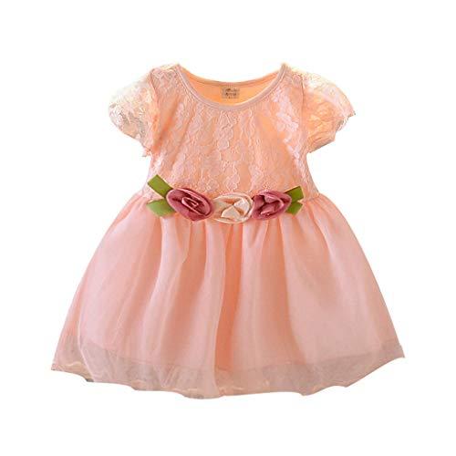 Alwayswin Kleinkind Baby Kinder Mädchen Tüll Party Kleid Floral Prinzessin Kleider Kleidung Lace Plissee Hochzeit Kleid Kurzarm Trim Flower Dress A-Linie Kleid Tutu Kleid -