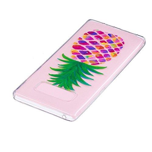 Hülle für Samsung Galaxy Note 8, Case Cover für Samsung Galaxy Note 8 [Scratch-Resistant] , ISAKEN Ultra Slim Perfect Fit Malerei Muster Weiche TPU Silikon Durchsichtig Transparent Protective Rückseit Ananas Bunt