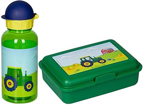 Spiegelburg Kinder 2er Set 15522 15704 Tritan-Trinkflasche Traktor + Butterbrotdose Traktor