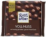 RITTER SPORT Voll-Nuss (100 g), Vollmilchschokolade mit ganzen Haselnüssen, knackig geröstet, hochwertige Nuss-Schokolade