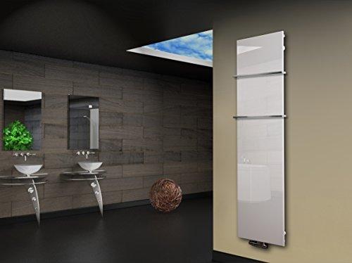 Badheizkörper Design Montevideo 3 (Glasfront) HxB: 180 x 47 cm, 1118 Watt, weiß + 2 Handtuchhalter (15x15mm) (Marke: Szagato) Made in Germany / Top-verarbeiteter Bad und Wohnraum-Heizkörper mit Echtglas (Mittelanschluss)