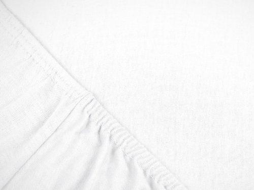 npluseins klassisches Jersey Spannbetttuch - erhältlich in 34 modernen Farben und 6 verschiedenen Größen - 100% Baumwolle, 70 x 140 cm, Schnee - 4