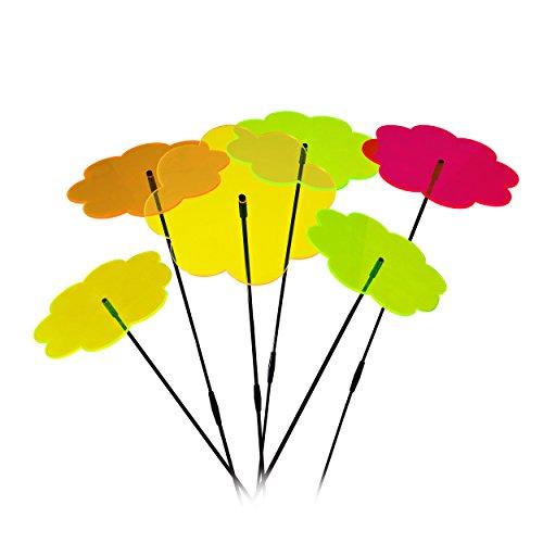 Blumen Sonnenfänger - 6 Hochwertige Sonnenfänger in Blumenform mit Ø 20cm Durchmesser - inkl. 12x 40cm Glasfaser-Schwingstäbe und 6x Verbindungsstücke