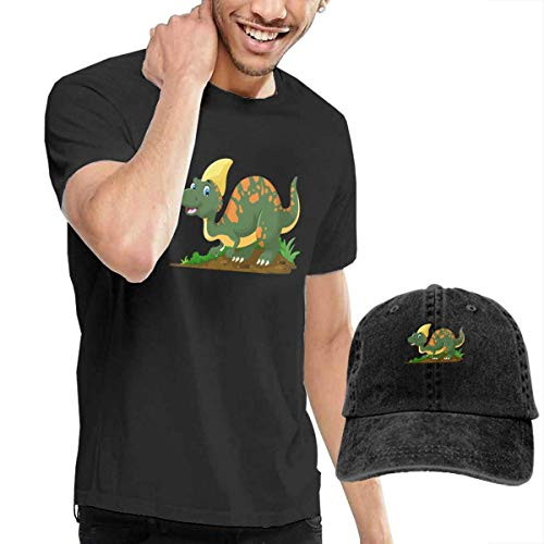 SOTTK Kurzarmshirt Herren, t-Shirts, Tee's, Cartoon-Dinosaurs Men's Classic T-Shirt with Washed Denim Baseball Hat Black (J Crew Denim-kleid)