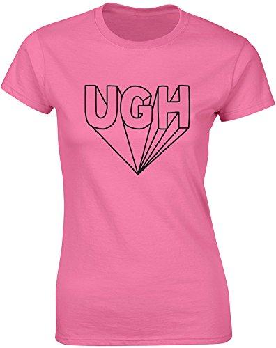 Brand88 - Brand88 - Ugh, Gedruckt Frauen T-Shirt Azalee/Schwarz