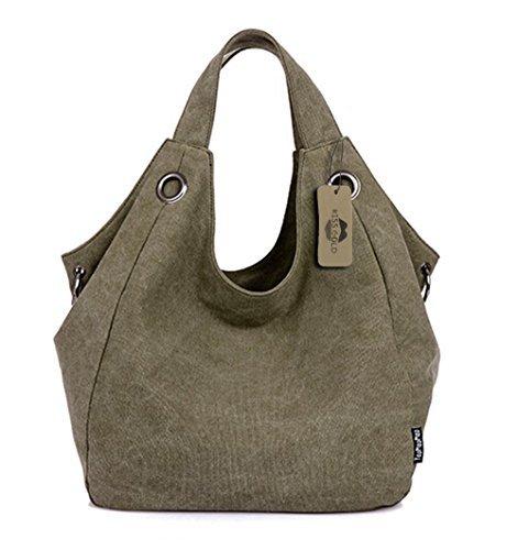 KISS GOLD Damen Schultertasche Canvas Totes Hobo Bag mit einfachem Stil, Grün (Crocodile Hobo)