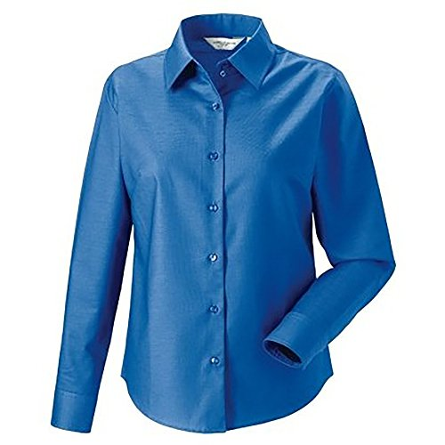Russell Collection Easy Care Oxford Bluse, Langarm Weiß