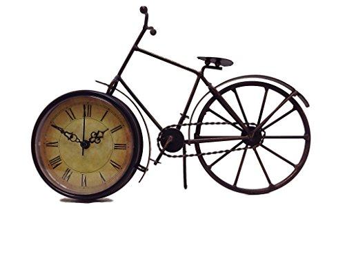 Tischuhr Fahrrad Kaminuhr aus Metall zum Aufstellen mit Quarzlaufwerk 28 x 17 x 7 cm