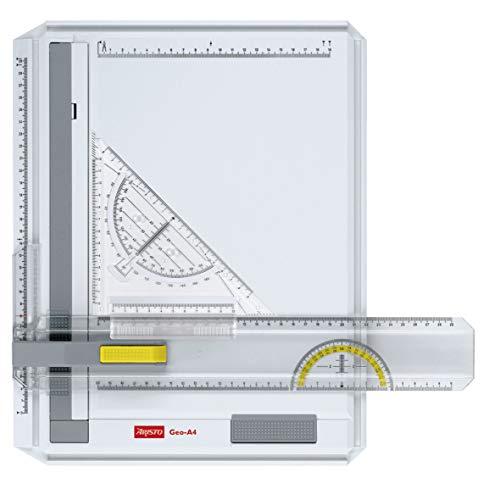 Aristo AR70442 Geo-Board Zeichenplatte (Format: A4, schlagfester Kunststoff, inkl. Schnellzeichendreieck AR7090) weiß (Zeichenbrett)