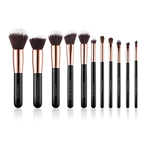 SIXPLUS Makeup Brushes 11pcs Premium Synthetic Professional Makeup Brush Set(Royal Golden)