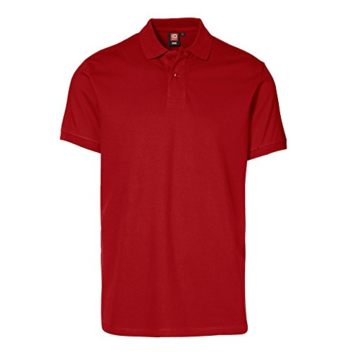 ID Herren Kurzarm Stretch Pique Polo Shirt Rot