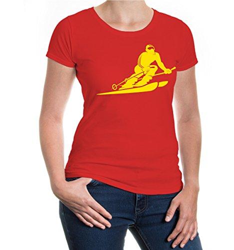 buXsbaum® Girlie T-Shirt Skiing Comicfigur Red-Sunflower