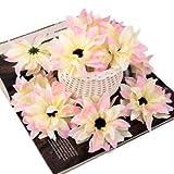 #6: Alcoa Prime 20pcs Artificial Silk Daisy Flower Wedding bride Hair Clip Accessories Pink