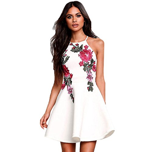 LMMVP Damen-Kleid, Blumenmuster, für Sommer, legeres Party-/Abendkleid, kurzes Mini-Kleid XL weiß (Ärmelloses Kleid Legeres)