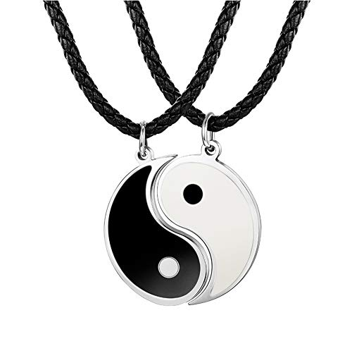 BE STEEL 3MM Leder Tai Chi Anhänger Halskette für Herren Damen Freundschaft Yin Yang Paar Kette 56+5CM