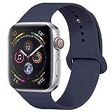 GIPENG Compatible para Correa Apple Watch 42MM 44MM, Suave Silicona Correa Compatible para iWatch Series 3, Series 2, Series 1 (Azul Medianoche, 42MM-ML)