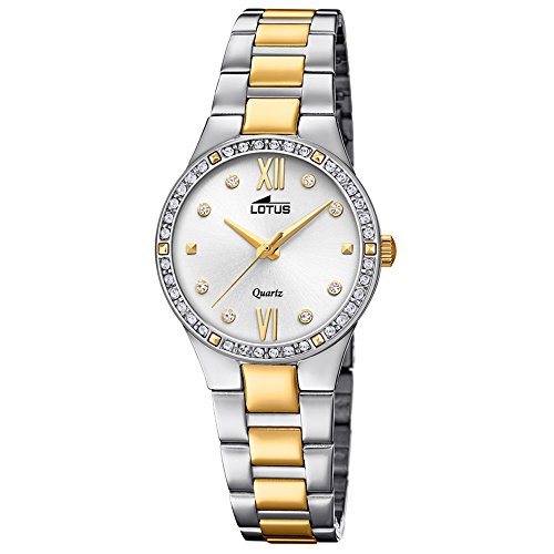 Lotus Women's Quartz Watch with White Dial Analogue Display Quartz UL18461 Bliss Fashion with Stainless Steel Bracelet Silver Gold/1