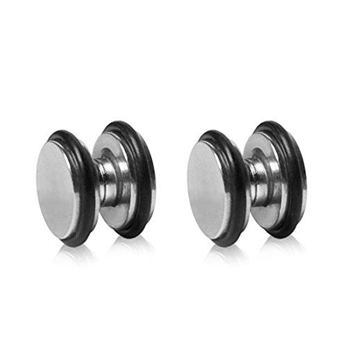 Magnet Fake Plug 316L Edelstahl oder Acryl Piercing Ohrringe Ohrstecker Creolen Fasching Kostüm Plugs - 316L Silber 10mm ()