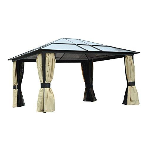 Outsunny® Luxus Pavillon Gartenpavillon Gartenzelt Partyzelt Zelt, Alu+Polycarbonat, 420x360x265cm