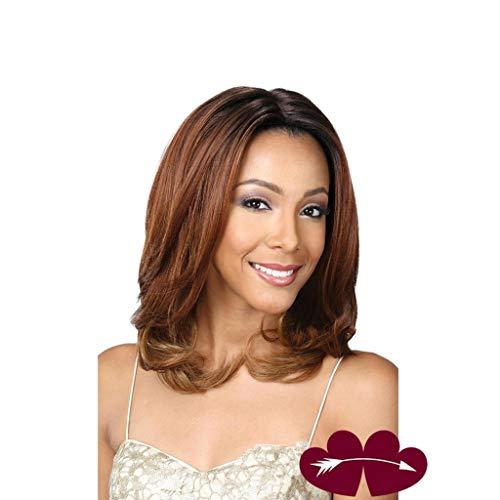 Perücke Ms Kopfbedeckungen Mittellange und lange lockige Haare Schwarze Farbe Farbverlauf braune Farbe 50cm oder so